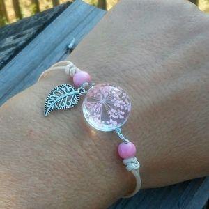 Dried flower pink globe bracelet
